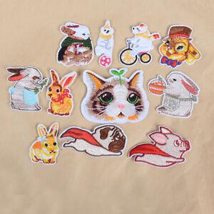 Cute Embroidery Animals Cat Rabbit Dog Pigs Cloth Diy Repair Hole