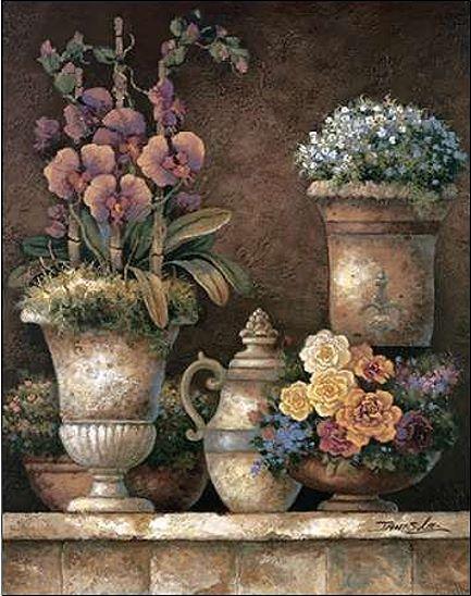 James Lee  Victorian Blossoms I Keilrahmen-Bild Leinwand Blaumen Vintage antik