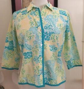 e3da5c68 Image is loading Island-Republic-Womens-Hawaiian-Button-Down-Shirt-Turquoise -