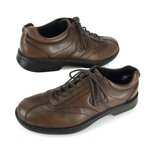 2382a88df5f2 Men s ECCO Light Shock Point Laced Leather Oxfords Comfy Shoes Brown ...