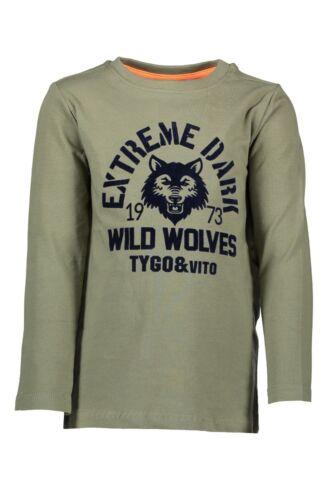 92-152 ♥ ♥ Tygo /& Vito ♥ giovani boys shirt manica lunga LIGHT ARMY Tg