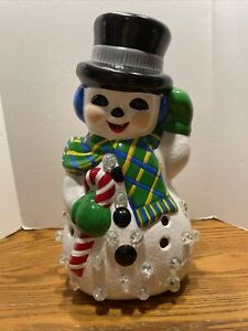 Vintage-Christmas-Hand-Painted-Snowman-Ceramic-Mold-Lights-14-5-034-1970s-Marbles