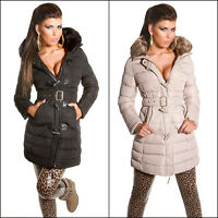 SEXY WOMEN DESIGNER LOOK HOODED TRENCH JACKET WITH FUR COAT SIZE 8 10 12 14 S M