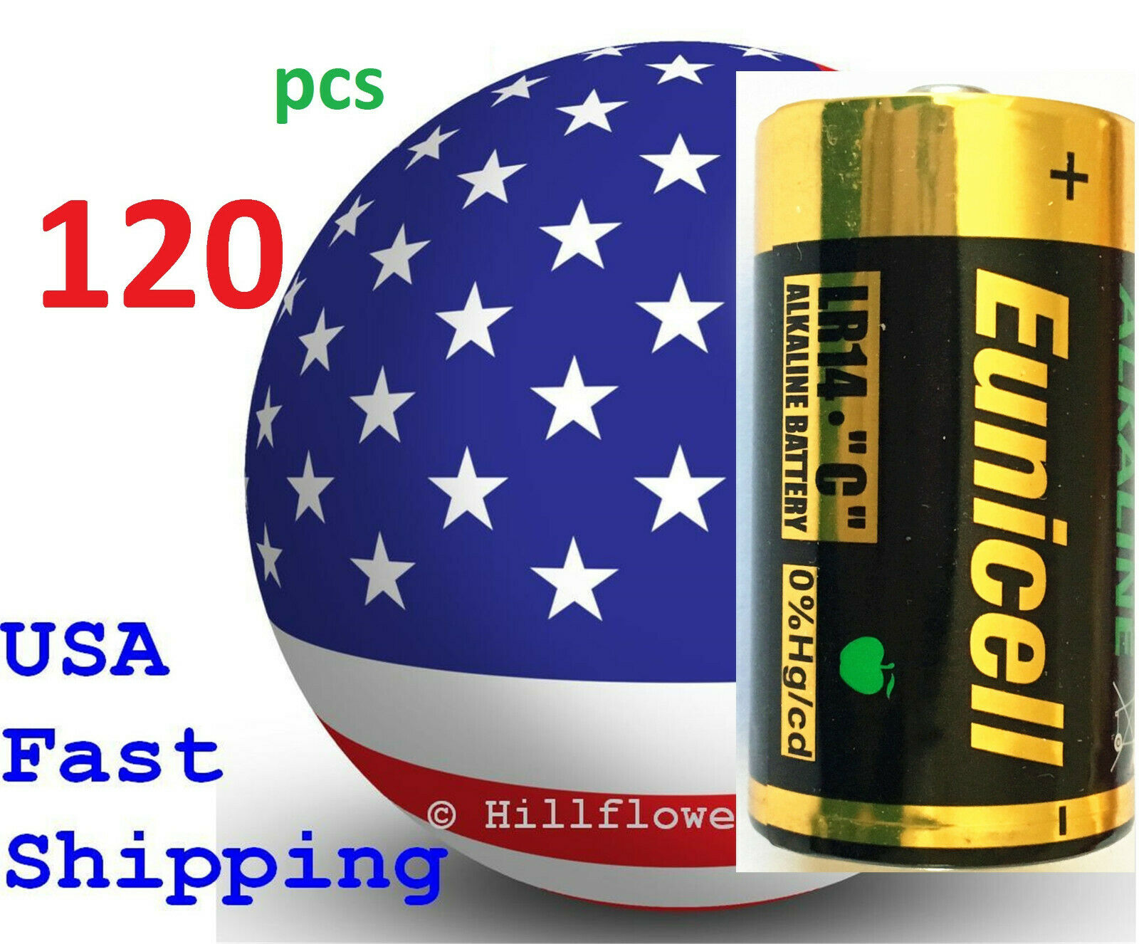 120 pcs Size C LR14 MN1400 EN93 0%Hg Heavy Duty Bulk 1.5V Alkaline Battery