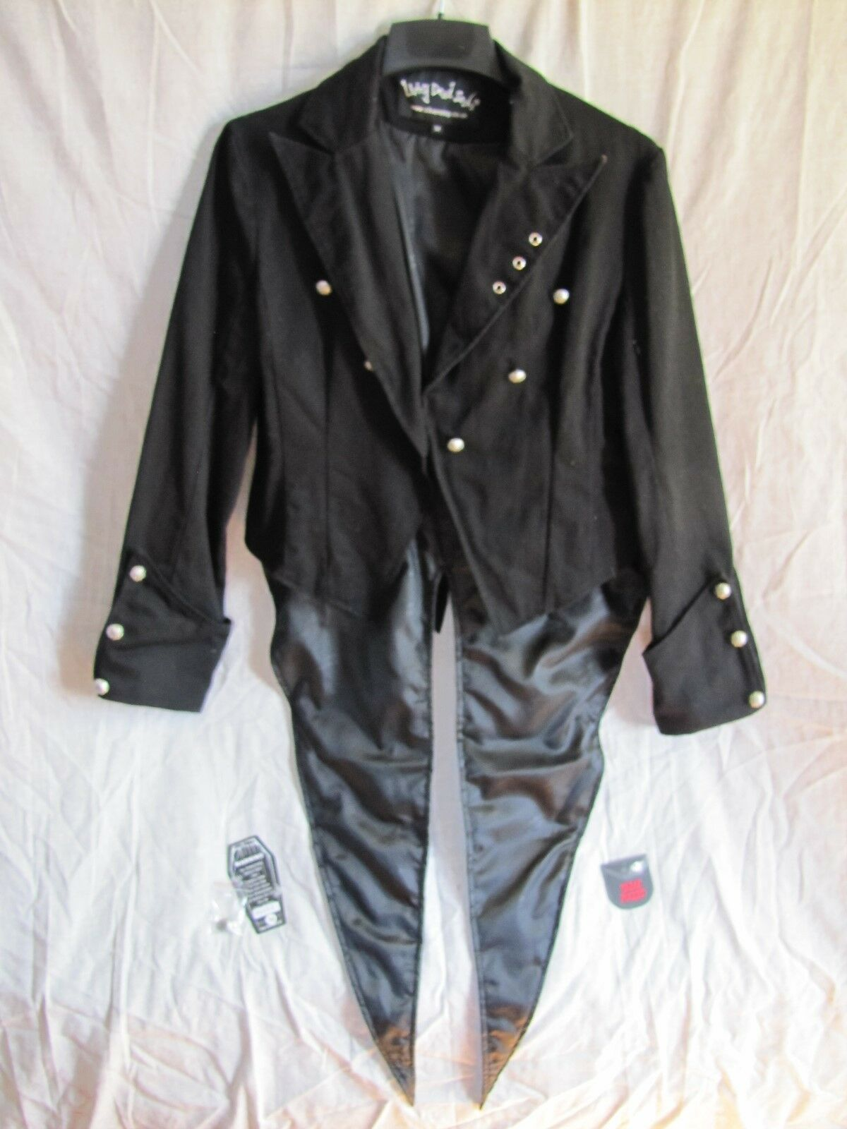 Living Dead Souls Steampunk-Gothic Black Grooms Jacket w/Tails-Size Medium