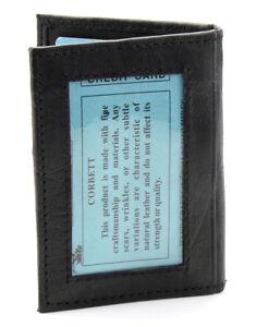 New-Mens-Slim-Thin-Bifold-Leather-ID-Wallet-Black-Credit-Card-Window-Holder-Case
