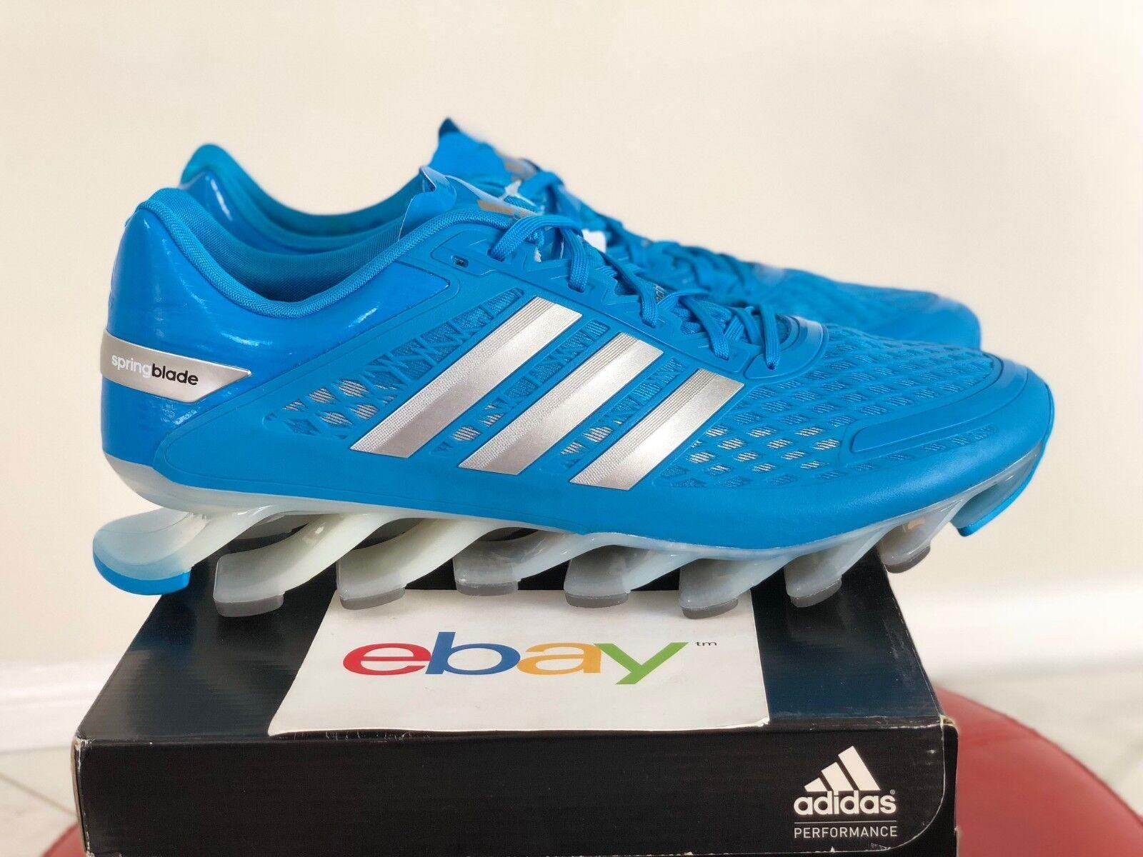 NEW Mens Adidas Springblade SKY BLUE Size 13 metallic silver white runner D