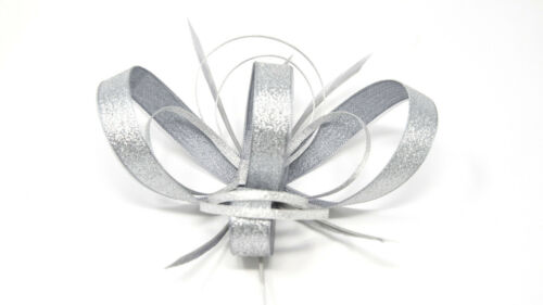 shimmering metallic silver fascinator with comb /& alice band. clip