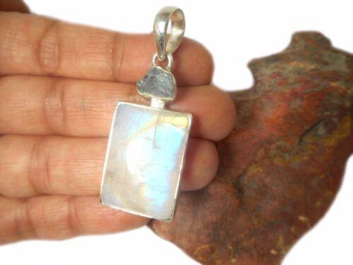 Aquamarine  Sterling  Silver  925  Gemstone  PENDANT MOONSTONE