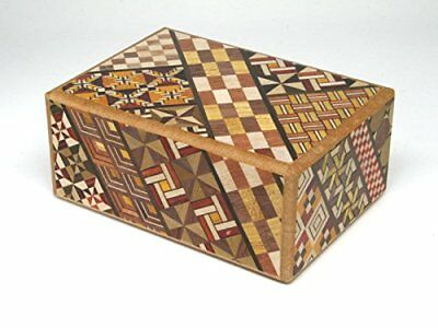 prepaid debit cards hidden compartments for children and adults brain-teaser box secret box Japanese Decorative Box 6in, Natural wooden puzzle box Hakone Yosegi 10 Steps comes with a gift box
