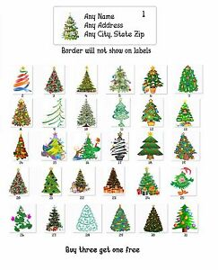 Personalized Return Address Christmas Trees Labels Buy 3 get 1 free (ct 1)