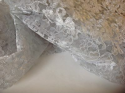 "NEW Designer Silver Corded Floral Lace Fabric 57"" 147cm High Class Lace Fabric"