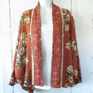 New-Angie-Short-Kimono-Jacket-L-Large-Terra-Cotta-Paisley-Floral-Boho-Peasant