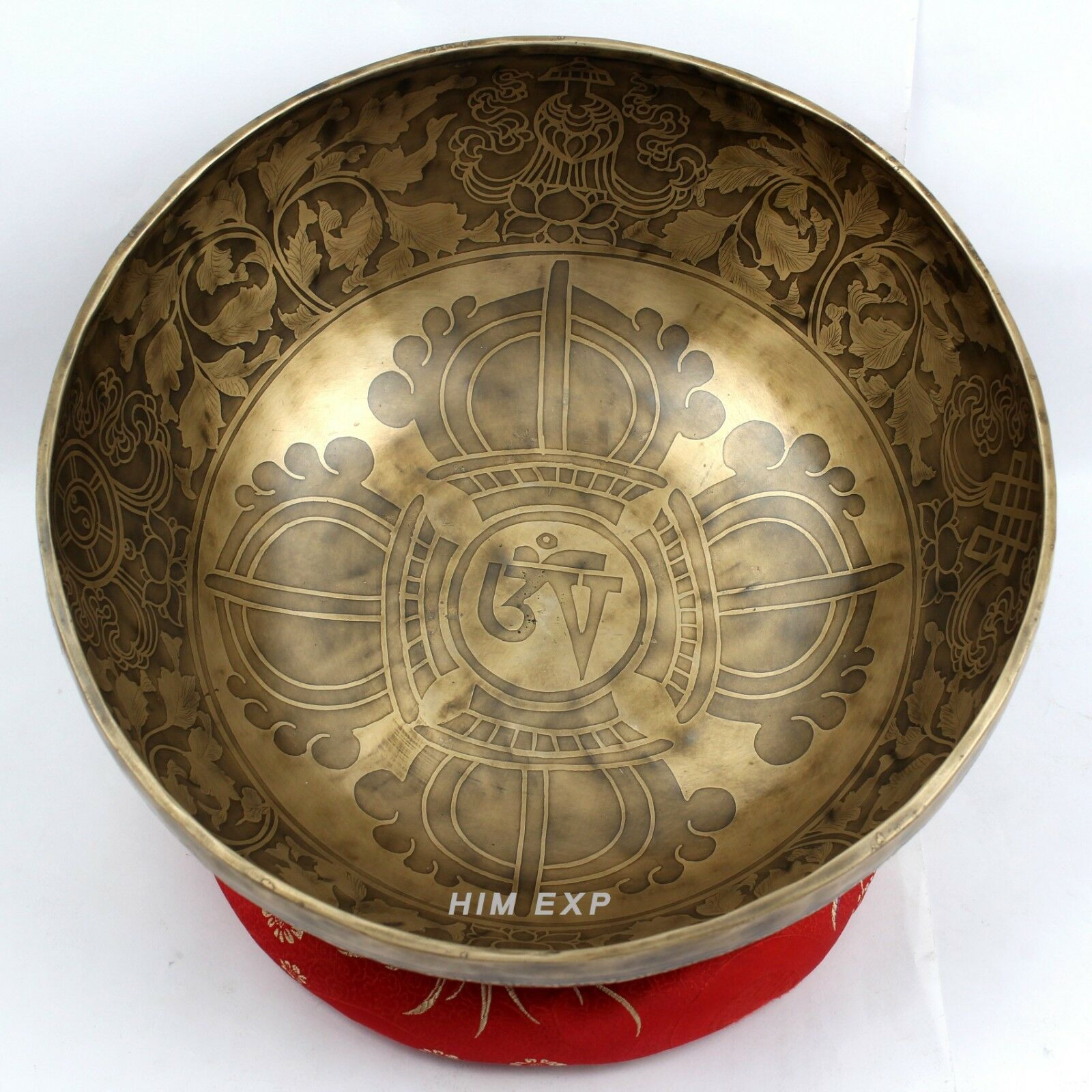Double Bajra and Mantra Carved Handmade Singing Bowl for Meditation and Healing