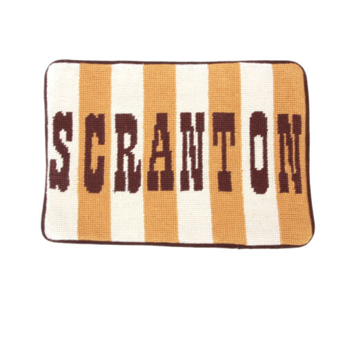 JONATHAN ADLER Needlepoint Pillow Case SCRANTON Biden Travel Brown Ochre