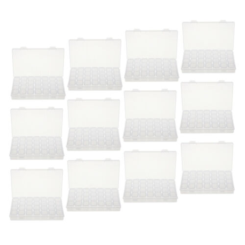 12Pc 28Grids Clear Plastic Organizer Container Storage Box for Gems Jewelry Bead