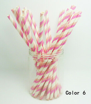25 Paper Straws Vintage Striped Drinking Straw Party Wedding Birthday Color 6