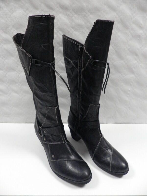 botas 2D2 DOSDEDOS negro 8350 FEMME Talla 36 botas woman botas mujer cuir NEUF