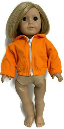 Orange Knit Hooded Jacket made for 18 inch American Girl Doll Clothes