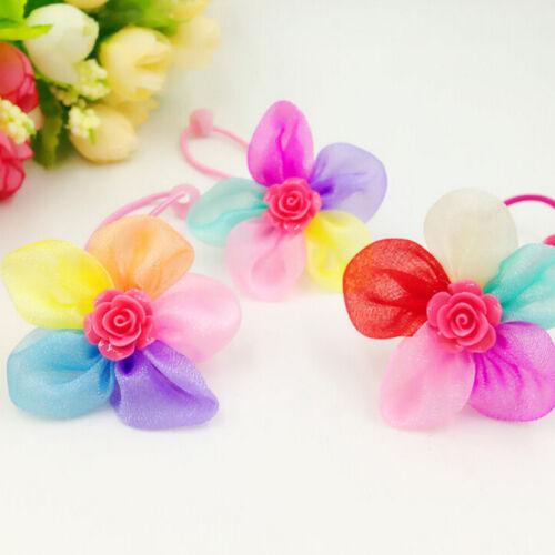 2//5//10 Pcs Fashion Girls Headwear Elastic Hair Rope with Flowers Random EWDLNK