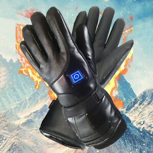 Leather-Electric-Heated-Gloves-Winter-Warmer-Rechargeable-Battery-Motorcycle-new