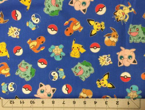 1 Yard Pokemon Cotton Fabric Blue Pikachu Jigglypuff Bulbasaur Squirtle 36x44