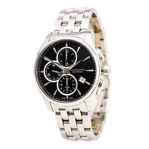 Hamilton-Men-039-s-Watch-Jazzmaster-Automatic-Chrono-Black-Dial-Bracelet-H32596131