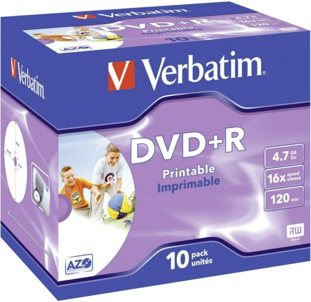 10 x Verbatim DVD+R 4.7GB 16x 120 Min Inkjet Printable In Jewel Case - NEW