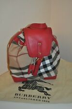 NWTS BURBERRY DENNIS BACKPACK Check Plaid Military Red Girls Handbag $450+ Bag