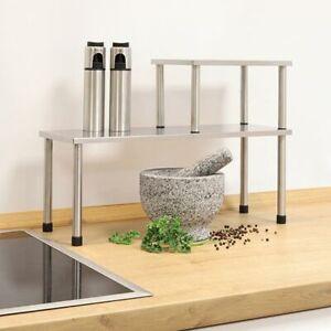 Dettagli su 2tlg. Acciaio Inox Mensola da Cucina Küchengestell Scaffale  Barra Porta Spezie