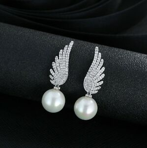 Studs-Earring-Wing-Silver-With-Zirconia-with-Pearl-White-Sterling-Silver-925