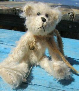 VINTAGE-TEDDY-BEAR-WHITE-MOHAIR-6-034-ARTIST-TAG-MARIEL-PRONDZINSKI-MINIATURE-BELL