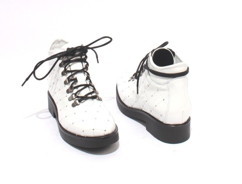 Mally 8501a White Quilted Patent Leather Lace Studded Studded Studded Ankle Boots 36   US 6 0481fa