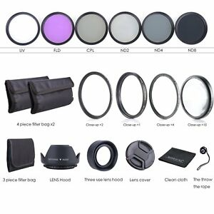55MM-Lens-Filter-Kit-Macro-Close-Up-Set-amp-UV-CPL-FLD-w-Pouch-for-Nikon-Canon