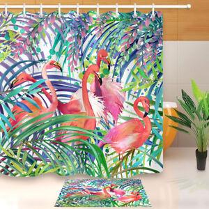 "Flamingo Colored Palm Leaves Shower Curtain Waterproof Fabric Bathroom Decor 72"""
