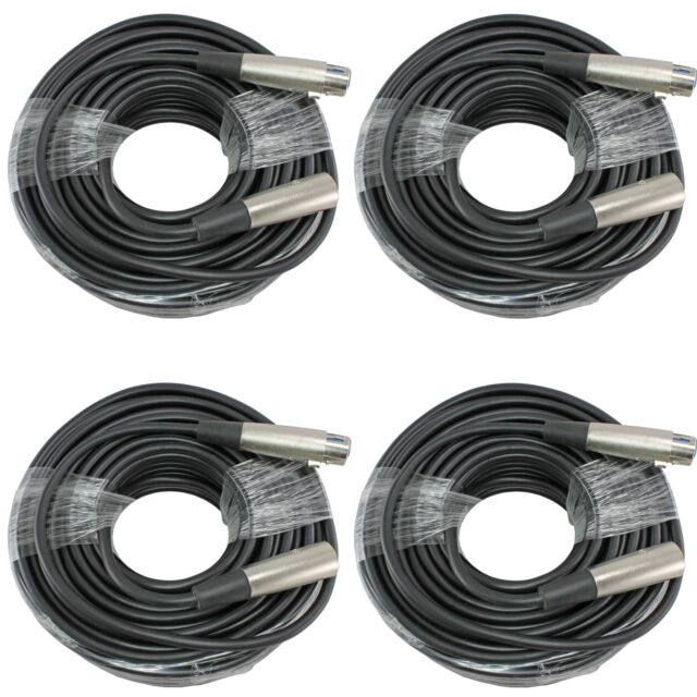 4 PACK 100 ft foot feet 3pin XLR male to female mic microphone extension cable