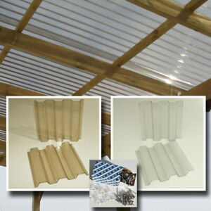 Dachplatten 8x3 m Lichtplatten Set farblos oder bronze hagelfest bis 4 cm Korn-Ø