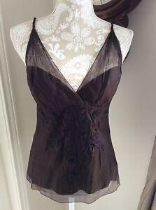 New-Elie-Tahari-Dark-Brown-Silk-Embroidered-Stila-Blouse-Size-Small-NWTags