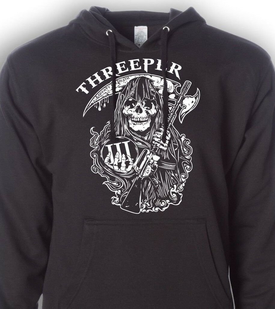 Threeper Hoodie - 3% er - Three Percenter - Gun Sweatshirt - Molon Labe