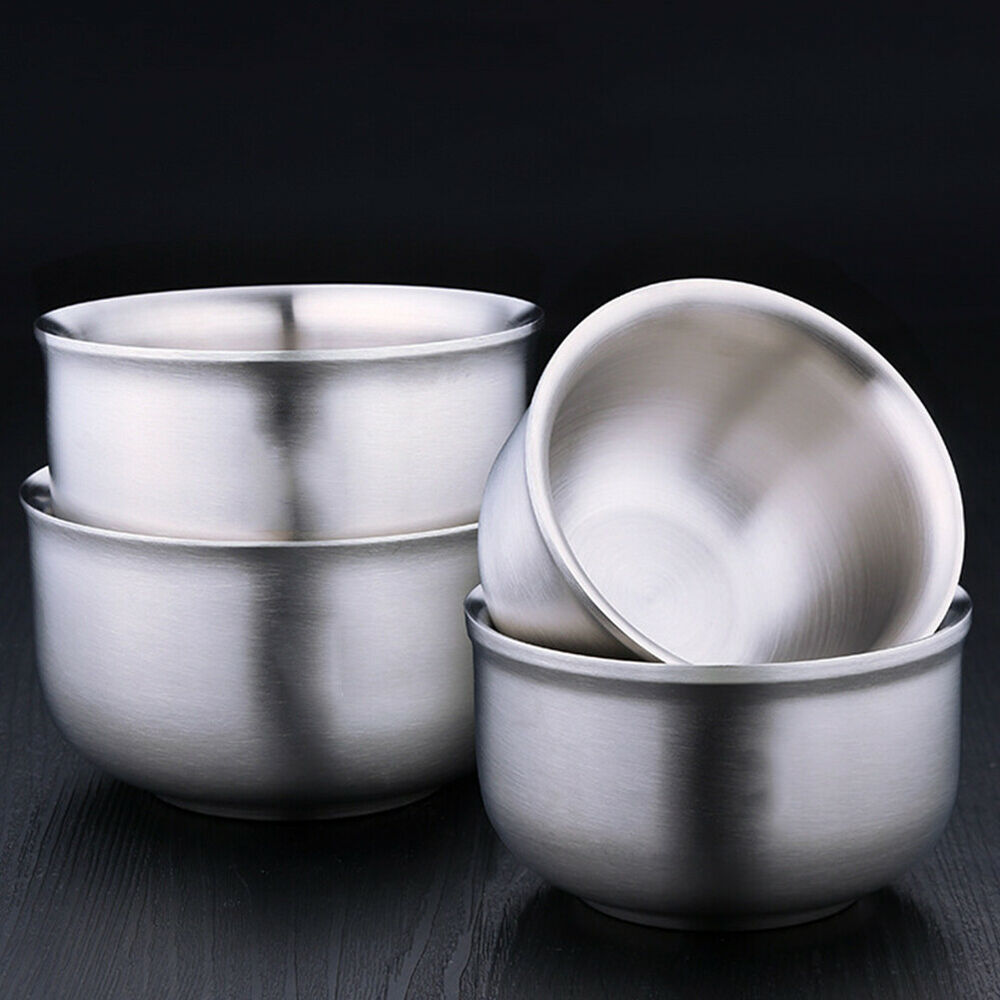 Stainless Steel Double Wall Insulated Round Rice Soup Bowl Kitchen Tableware Hot Bowls