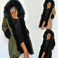 Women Warm Winter Faux Fur Hooded Parka Coat Overcoat Ladies Long Jacket Outwear