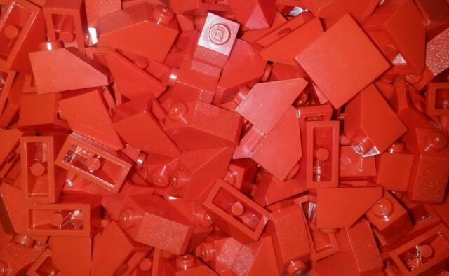*NEW* Lego Red Slope Bricks 1x2 Dots Blocks for Walls Cars Roof Houses 25 pieces
