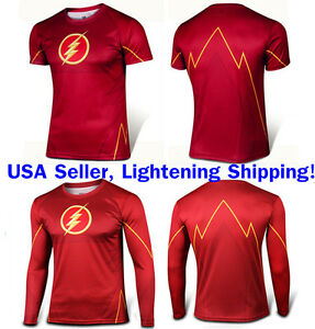 The-Flash-Costume-Tee-Short-Sleeve-Long-Sleeve-T-Shirt-Sports-Jersey