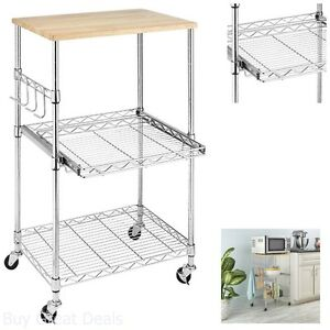 Image Is Loading Kitchen Microwave Cart Storage Rolling Stand Shelf Utility