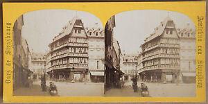 Estrasburgo-Casa-de-Gutenberg-Stereo-Vintage-Albumina-Aprox-1870