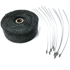 2 X 50 Exhaust Header Heat Wrap Black With Stainless Straps Hot Rod Motorcycle