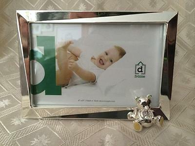 CELEBRATION TEDDY BEAR MEG SILVER METAL PHOTO FRAME 6 X 4