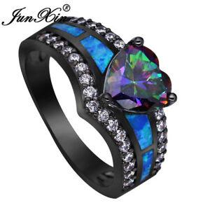 Mystic Rainbow Topaz Blue Fire Opal Heart Ring
