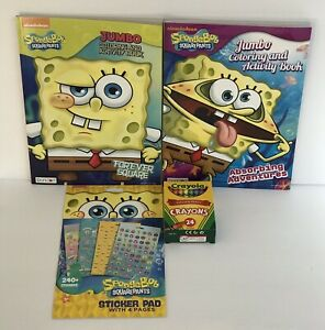 4-Sponge-Bob-Square-Pants-Jumbo-Coloring-Activity-Books-Sticker-Book-amp-Crayons
