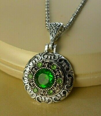 PERIDOT GREEN AUGUST BIRTHSTONE SNAP BUTTON W// Steel Necklace gifts for women